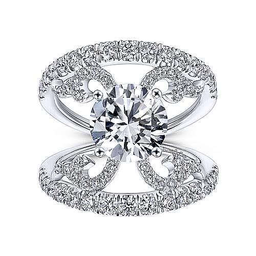Bellatrix 14k White Gold Round Split Shank Engagement Ring