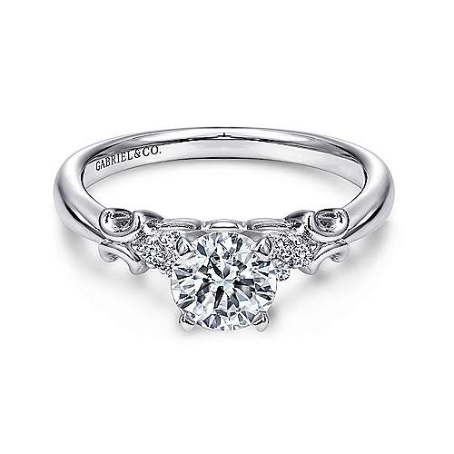 Belle 14k White Gold Round Straight Engagement Ring angle 1
