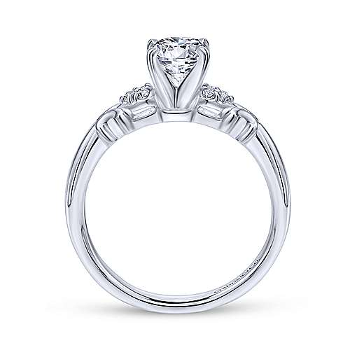 Belle 14k White Gold Round Straight Engagement Ring angle 2