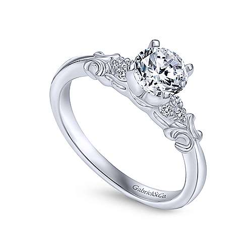 Belle 14k White Gold Round Straight Engagement Ring angle 3