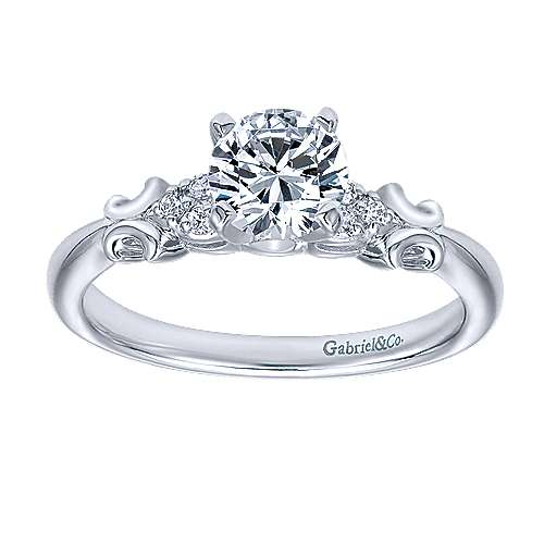 Belle 14k White Gold Round Straight Engagement Ring angle 5