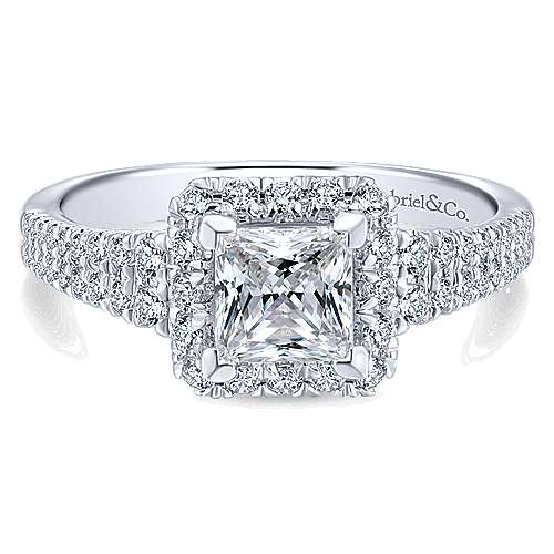 Gabriel - Bergamot 14k White Gold Princess Cut Halo Engagement Ring