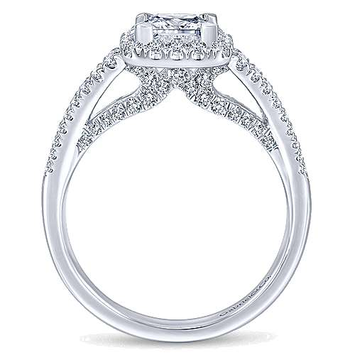 Bergamot 14k White Gold Princess Cut Halo Engagement Ring angle 2