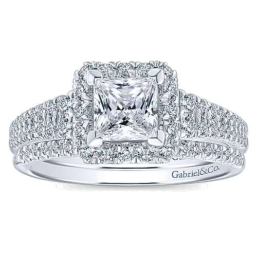 Bergamot 14k White Gold Princess Cut Halo Engagement Ring angle 4