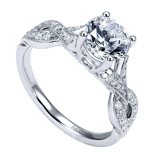 Berlin 18k White Gold Round Twisted Engagement Ring angle 3
