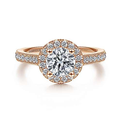 Gabriel - Bernadette 14k Pink Gold Round Halo Engagement Ring