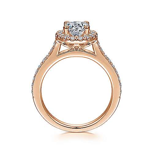 Bernadette 14k Rose Gold Round Halo Engagement Ring angle 2