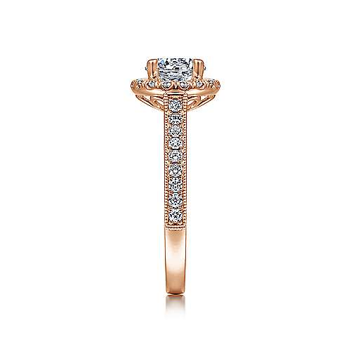Bernadette 14k Rose Gold Round Halo Engagement Ring angle 5