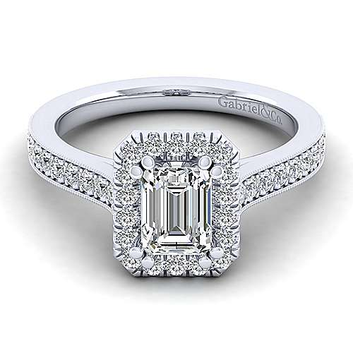 Gabriel - Bernadette 14k White Gold Emerald Cut Halo Engagement Ring