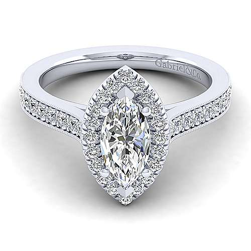 Gabriel - Bernadette 14k White Gold Marquise  Halo Engagement Ring