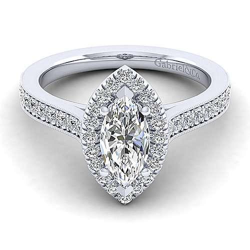 Gabriel - Bernadette 14k White Gold Marquise  Halo Engagement Ring