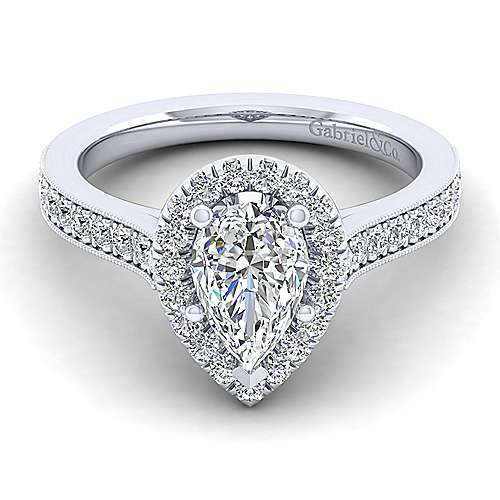 Gabriel - Bernadette 14k White Gold Pear Shape Halo Engagement Ring