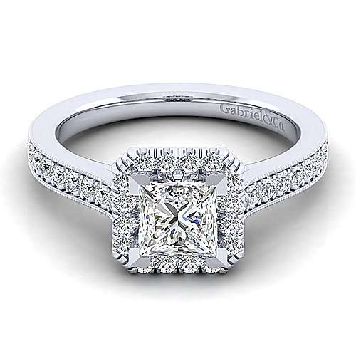 Gabriel - Bernadette 14k White Gold Princess Cut Halo Engagement Ring