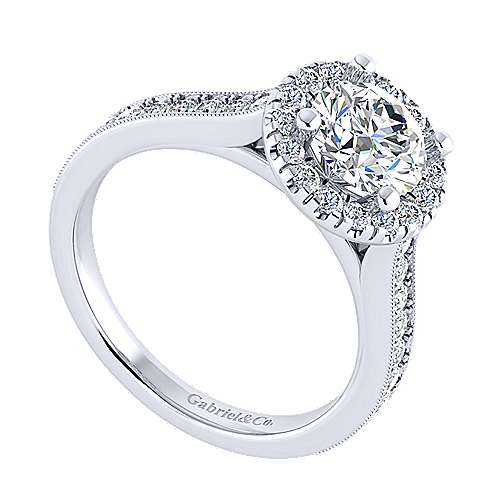 Bernadette 14k White Gold Round Halo Engagement Ring angle 3