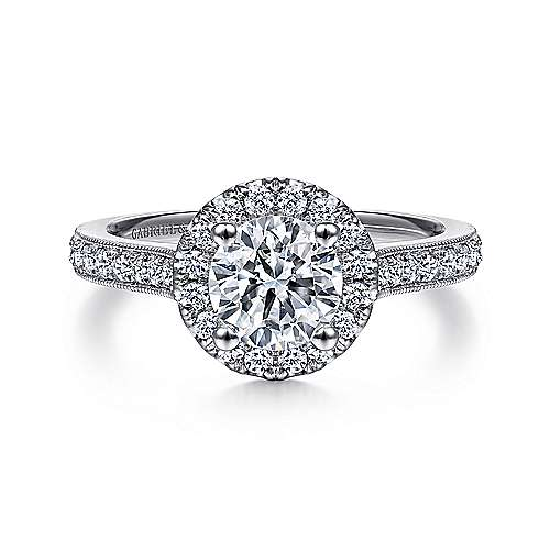 Bernadette 14k White Gold Round Halo Engagement Ring angle 1