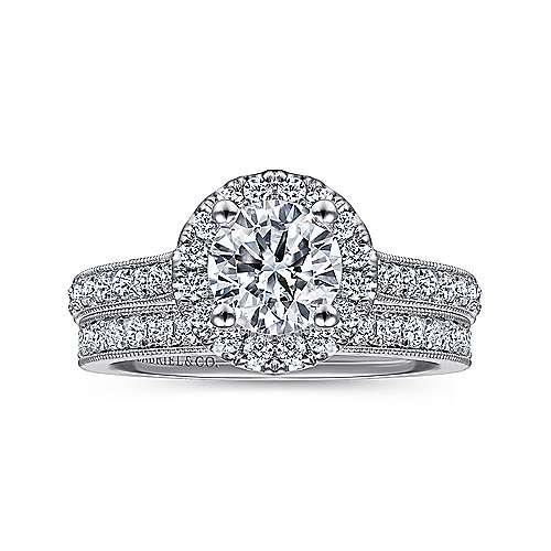 Bernadette 14k White Gold Round Halo Engagement Ring angle 4