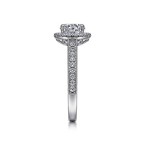 Bernadette 14k White Gold Round Halo Engagement Ring angle 5