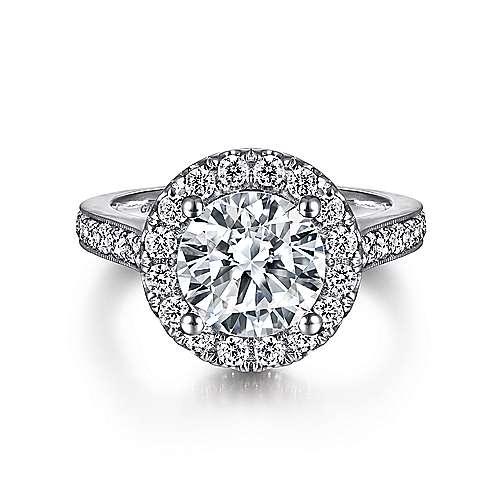 Gabriel - Bernadette 14k White Gold Round Halo Engagement Ring