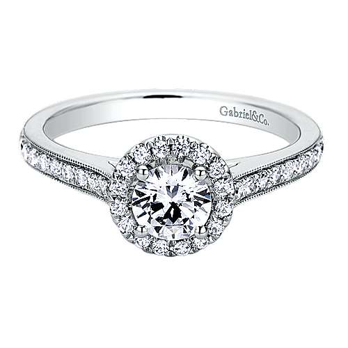 Gabriel - Bernadette 14k White Gold Round Halo Engagement Ring