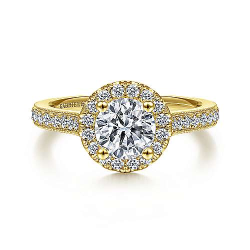Bernadette 14k Yellow Gold Round Halo Engagement Ring angle 1