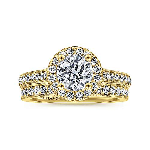 Bernadette 14k Yellow Gold Round Halo Engagement Ring angle 4