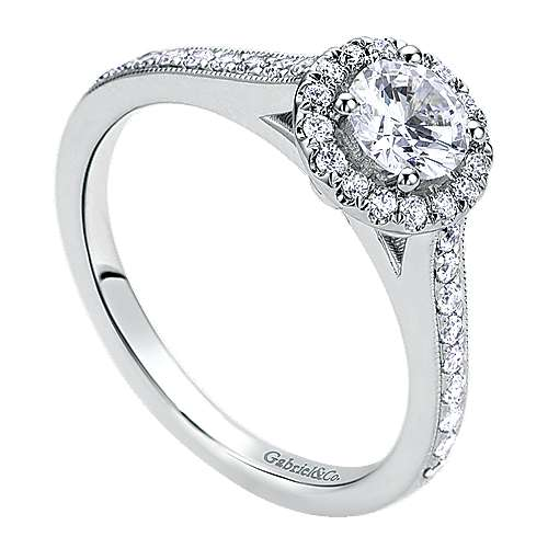 Bernadette Platinum Round Halo Engagement Ring angle 3