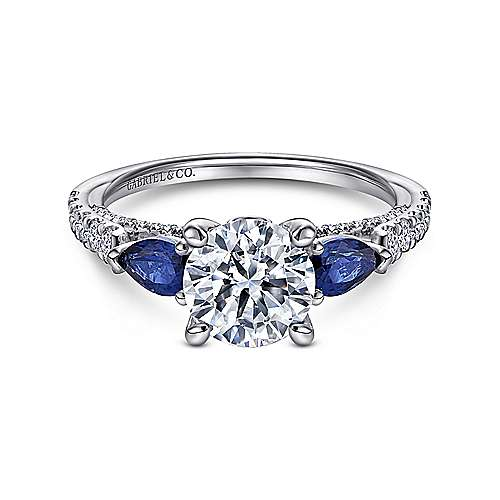 Gabriel - Beso 18k White Gold Round 3 Stones Engagement Ring