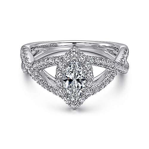 Gabriel - Beta 14k White Gold Marquise  Halo Engagement Ring