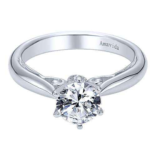 Bethany 18k White Gold Round Solitaire Engagement Ring angle 1