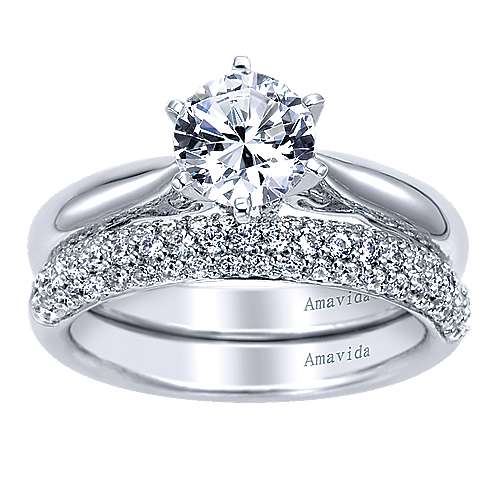 Bethany 18k White Gold Round Solitaire Engagement Ring angle 4