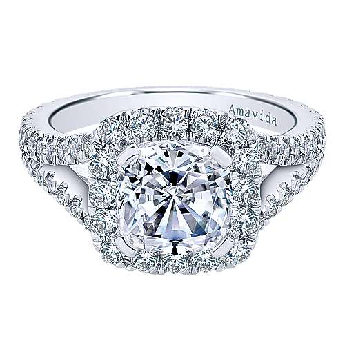 Gabriel - Bette 18k White Gold Cushion Cut Halo Engagement Ring
