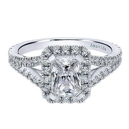 Gabriel - Bette 18k White Gold Emerald Cut Halo Engagement Ring