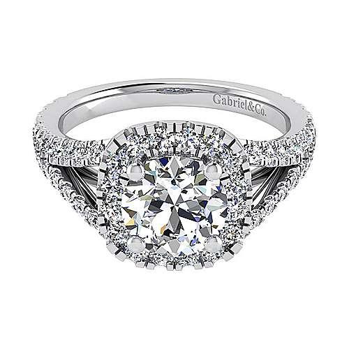 Gabriel - Bette 18k White Gold Round Halo Engagement Ring