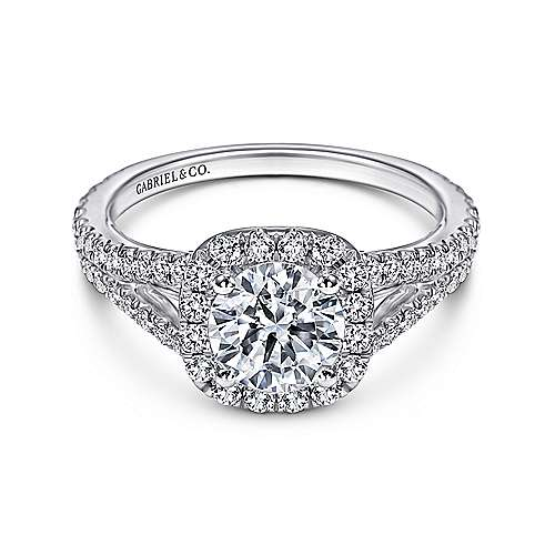 Gabriel - Bette 18k White Gold Round Halo Engagement Ring