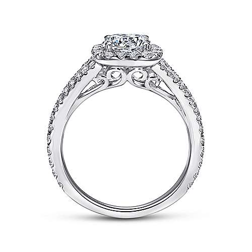Bette 18k White Gold Round Halo Engagement Ring angle 2