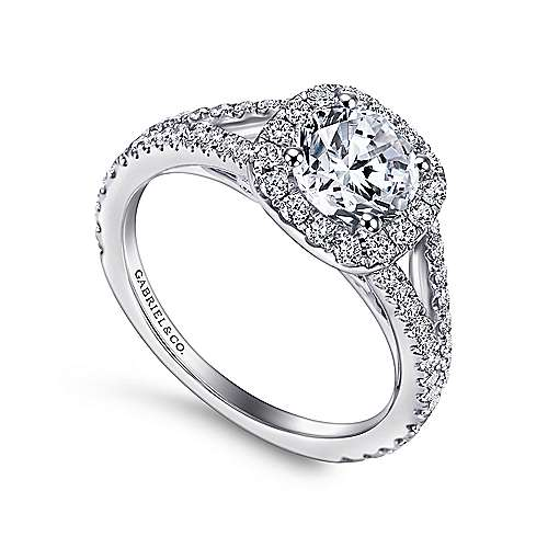 Bette 18k White Gold Round Halo Engagement Ring angle 3