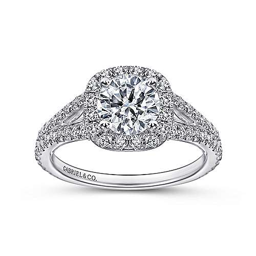 Bette 18k White Gold Round Halo Engagement Ring angle 5