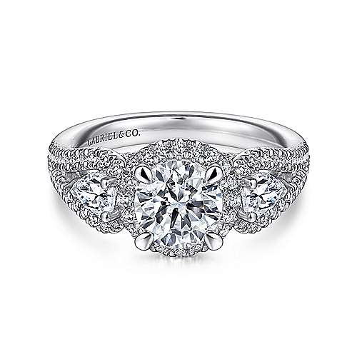 Gabriel - Bettina 14k White Gold Round Halo Engagement Ring