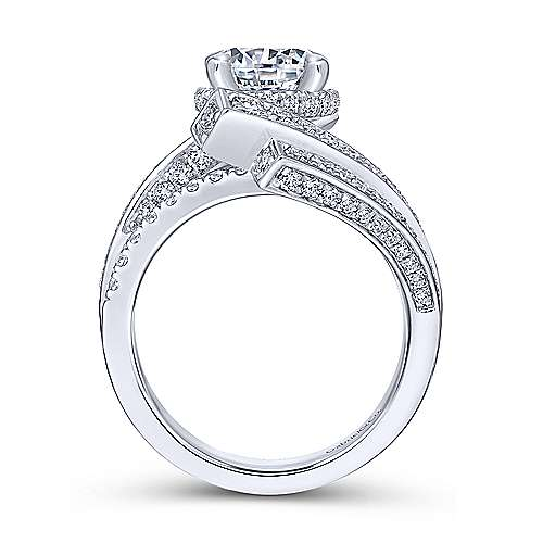 Betty 18k White Gold Round Bypass Engagement Ring angle 2
