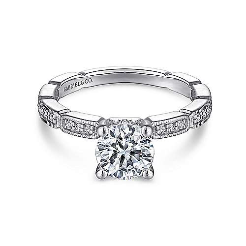 Gabriel - Beverly 14k White Gold Round Straight Engagement Ring