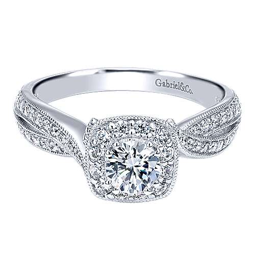 Gabriel - Bexley 14k White Gold Round Halo Engagement Ring
