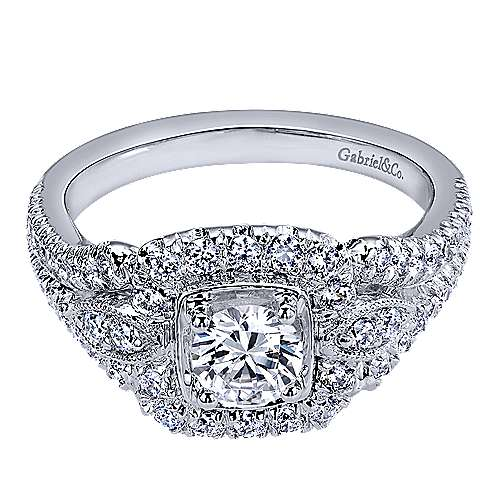 Gabriel - Beyond 14k White Gold Round Halo Engagement Ring