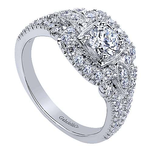 Beyond 14k White Gold Round Halo Engagement Ring angle 3