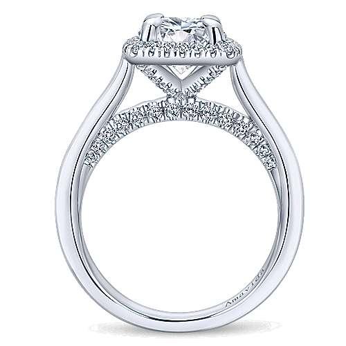Bibi 18k White Gold Round Halo Engagement Ring angle 2
