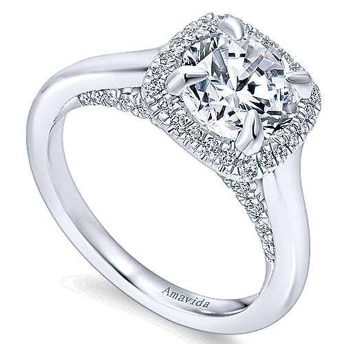Bibi 18k White Gold Round Halo Engagement Ring angle 3