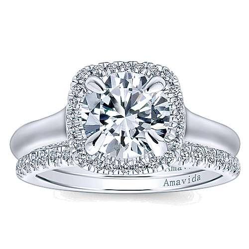 Bibi 18k White Gold Round Halo Engagement Ring angle 4