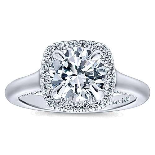 Bibi 18k White Gold Round Halo Engagement Ring angle 5