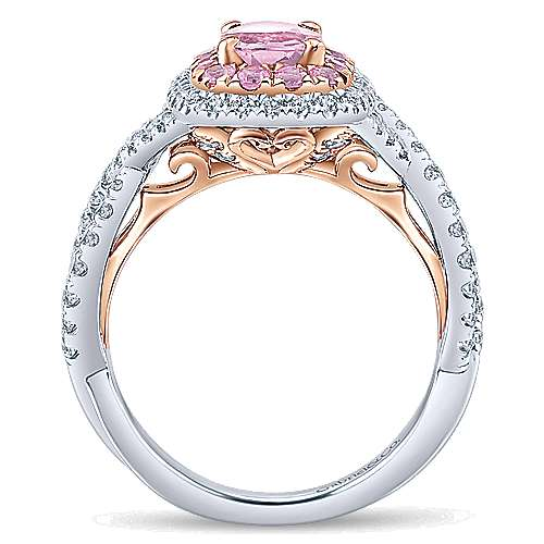 Bijoux 14k White And Rose Gold Oval Double Halo Engagement Ring angle 2