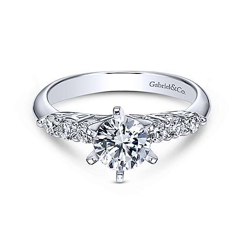 Gabriel - Billie 14k White Gold Round Straight Engagement Ring