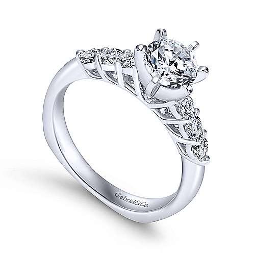 Billie 14k White Gold Round Straight Engagement Ring angle 3